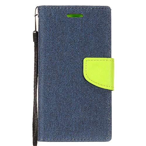 Bemz Wallet Phone Case Compatible with Alcatel Avalon V, TCL LX, idealXTRA, 1X Evolve with Denim Fabric/Synthetic Leather, Card Slots, Magnetic Flip Cover and Atom Cloth - Navy Blue/Neon Green