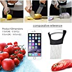 Best Utensils Onion Holder For Slicing Tomato Lemon Slicer Holder Vegetable Potato Cutter Slicer Meat Tenderiser Stainless Steel Cutting Kitchen Gadget 9 ✅ A MUST HAVE IN YOUR KITCHEN: Meat tenderiser, Tomato slicer, Potato & Onion holder, it could be so many roles in your funny kitchen, This clever and multi-purpose kitchen gadget allows you to chop uniform slices of onion without having to ever touch it. ✅ SHARP PRONGS: Ten Ultra-sharp stainless steel prongs also could help you to hold even the hardest vegetables and fruits, perfect for making quick meals from healthy veggies or fruits like apples, onions, carrots, zucchinis, cucumbers, cabbages, beetroots, turnips, rutabagas, cucumbers, radishes, potatoes, sweet potatoes, squashes, and more. ✅ INNOVATION AND REFINEMENT: ANY TIME ANY VEGGIES our onion holder is stylish elegance and effortless. 100% high quality & rust-resistant 18/8 stainless steel, Equipped with sharp prongs and reinforced plastic body ensure the safety. Holds the onion steady and guides your knife for even slices. Experience safe and comfortable food preparation.
