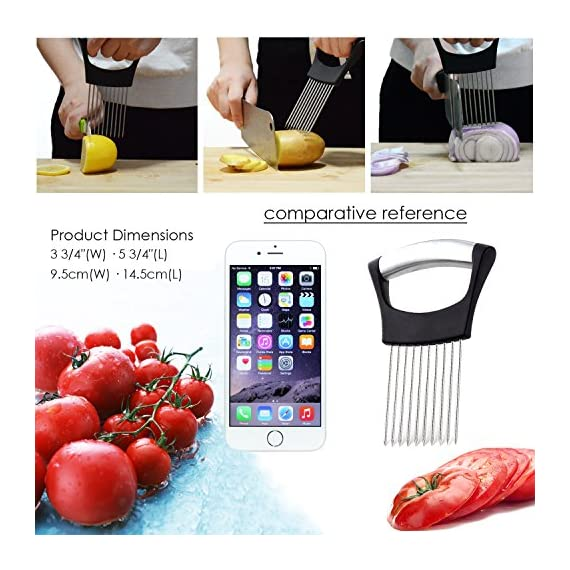 Best Utensils Onion Holder For Slicing Tomato Lemon Slicer Holder Vegetable Potato Cutter Slicer Meat Tenderiser Stainless Steel Cutting Kitchen Gadget 2 ✅ A MUST HAVE IN YOUR KITCHEN: Meat tenderiser, Tomato slicer, Potato & Onion holder, it could be so many roles in your funny kitchen, This clever and multi-purpose kitchen gadget allows you to chop uniform slices of onion without having to ever touch it. ✅ SHARP PRONGS: Ten Ultra-sharp stainless steel prongs also could help you to hold even the hardest vegetables and fruits, perfect for making quick meals from healthy veggies or fruits like apples, onions, carrots, zucchinis, cucumbers, cabbages, beetroots, turnips, rutabagas, cucumbers, radishes, potatoes, sweet potatoes, squashes, and more. ✅ INNOVATION AND REFINEMENT: ANY TIME ANY VEGGIES our onion holder is stylish elegance and effortless. 100% high quality & rust-resistant 18/8 stainless steel, Equipped with sharp prongs and reinforced plastic body ensure the safety. Holds the onion steady and guides your knife for even slices. Experience safe and comfortable food preparation.