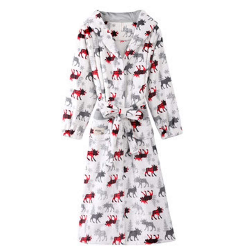 TALLA XXL. Albornoz Nan Liang Otoño e Invierno camisón Femenino de algodón Grueso Pijama con Capucha Larga Bata de baño Cómodo (Tamaño : XXL)