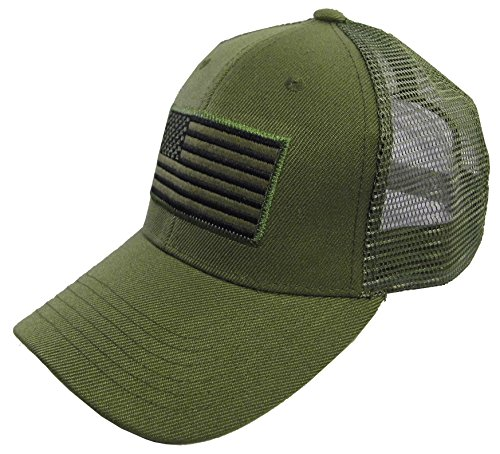 - USA Flag Patch Tactical Style Mesh Trucker Baseball Cap Hat Army Green