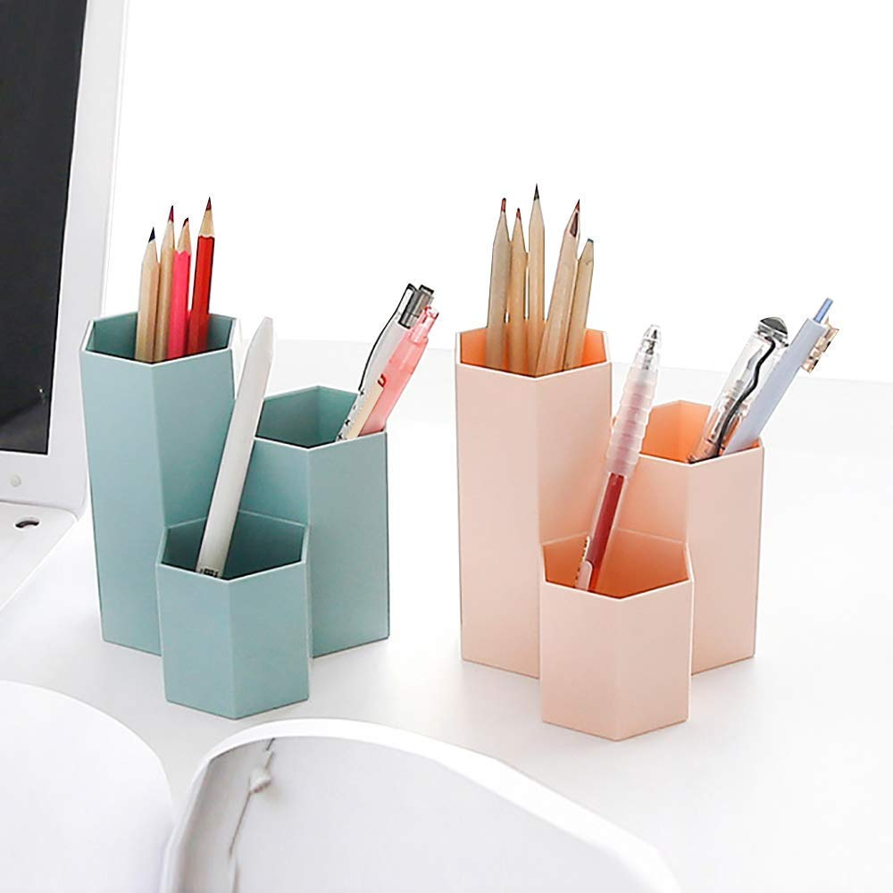 TOOGOO Pen Container Organizer,Desk Top Plastic Pen Holder for Gel Pens Pencils Markers, 3 Pack by TOOGOO (Image #6)