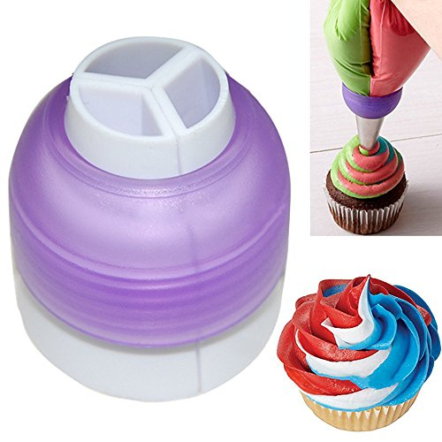 Cake Decoration By Cream : Polytree Icing Piping Bag Nozzle Converter Tri-color Cream ...
