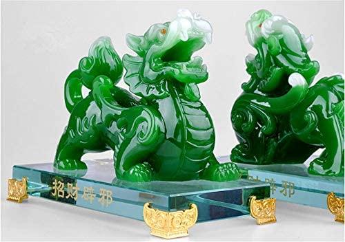 Feng Shui Une Paire Résine Naturelle Que Jade Pixiu Pi Yao