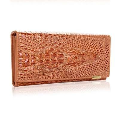 women crocodile grain Long wallet Bifold Purse Clutch