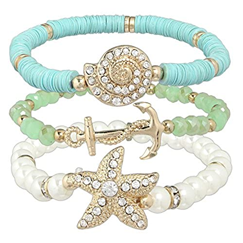 top Rain 3 Piece Gold-plated Nautical Stretch Bracelet Set