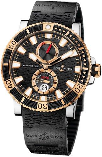 New-Mens-Ulysse-Nardin-18k-Rose-Gold-Maxi-Marine-Diver-Titanium-Watch-265-90-3C92