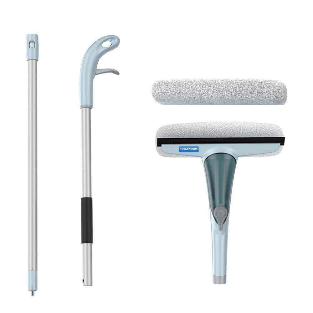 Window Squeegee Professional Microfiber Window Combi 3-in-1 Professional Squeegee and Window Scrubber Cleaner Extension Pole All Purpose Outdoor Glass Car and High Windows
