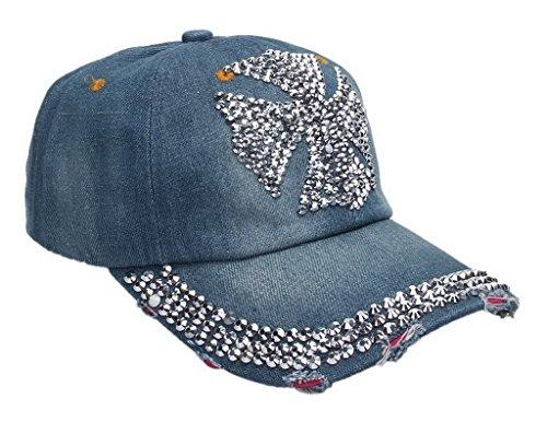 キャップ デニムキャップ スポーツキャップ カジュアルキャップ ベースボールキャップ 野球帽 ダメージ加工 クロムハーツ柄ラインストーン アウトドア帽子 メンズ レディース兼用 ライトブルー