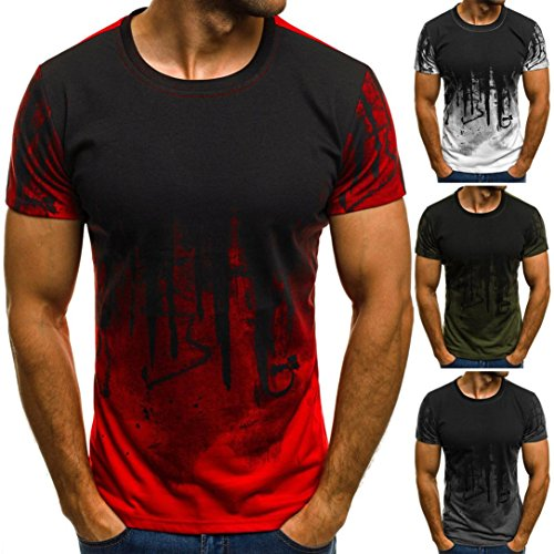 Jushye Hot Sale! Mens Tee, Slim Fit Short Sleeve Print Muscle Casual Tops Blouse Shirts