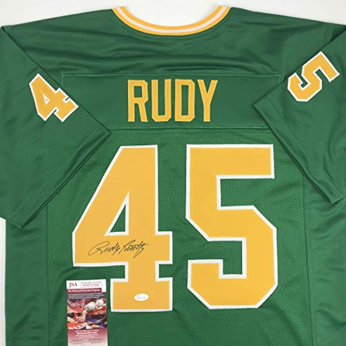 (Autographed/Signed Rudy Ruettiger Notre Dame Green Rudy College Football Jersey JSA COA)