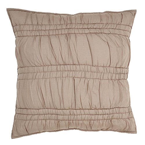 VHC Brands Farmhouse Bedding - Natasha Brown Euro Sham, Warm Taupe (Taupe Euro Sham)