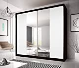 CHECO HOME AND GARDEN BEAUTIFUL SLIDING DOOR WARDROBE 7 ft 8 (233cm) MULTI F13 ALL WHITE TWO BIG MIRRORS, INTERCHANGEABLE DOORS, YOU DECIDE ON THE FINAL EFFECT, 4 SIDE COLOURS TO CHOOSE FROM (Black)