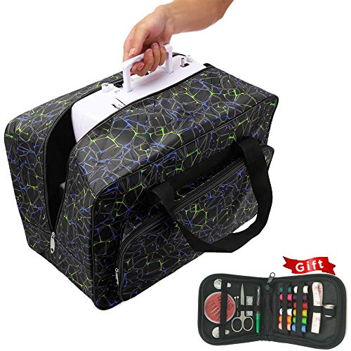 Sewing Machine Tote, Premium Large Sewing Machine Carrying Tote Bag | Free Gifts Sewing Kit Over 45 Premium Sewing Supplies | Universal Sewing Machine Bag with Pockets (Black and ()