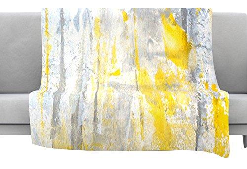 KESS InHouse Carollynn Tice Abstraction Grey Yellow Fleece T