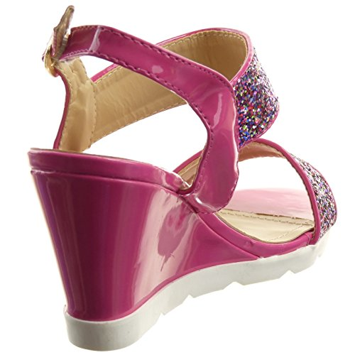 Sopily - Scarpe da Moda sandali Aperto Zeppe alla caviglia donna lucide strass fibbia Tacco zeppa piattaforma 8 CM - Nero