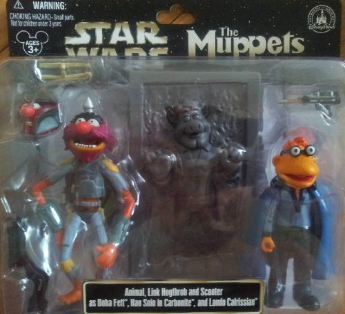 Disney Star Wars Muppets Animal Link Hogthrob Scooter as Boba Fett, Han Solo in Carbonite and Lando Calrissian Collectible Figure Set by Disney