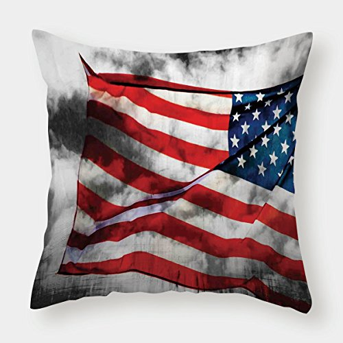 iPrint Cotton Linen Throw Pillow Cushion Cover,American Flag,Banner in the Sky on Cloudy Mist Display National Symbol Proud of Heritage,Grey Red Blue,Decorative Square Accent Pillow Case