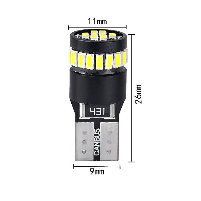 10 Luces Canbus LED W5W T10 24 3014 de estacionamiento luz de posición blanco xenón: Amazon.es: Coche y moto