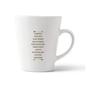Amazon.com: Style In Print Brown Be Shot Difficulties It Means Its Going to Launch You Into Something Great So Just Focus and Keep Aiming Ceramic Latte Mug ...