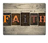 Luxlady Natural Rubber Placemat IMAGE ID: 35292708 The word FAITH written in wooden letterpress type