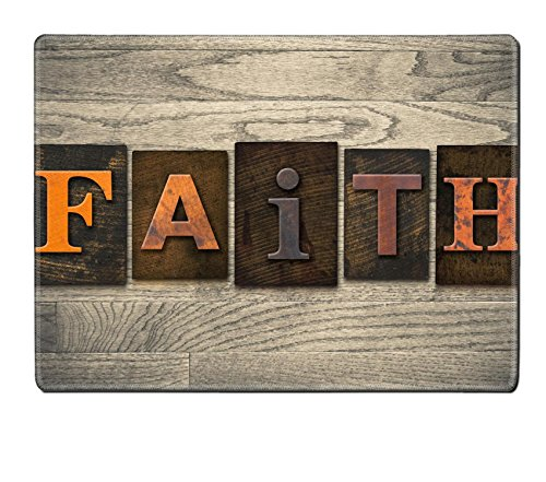 Luxlady Natural Rubber Placemat IMAGE ID: 35292708 The word FAITH written in wooden letterpress type by Luxlady