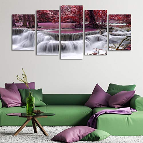 WLEZY 5 Pieces Autumn Red Woods Falls Pictures Print On Canvas Abstract Guitar Wall Pictures Living Room Wall Art Paintings 20x35 20x45 20x55cm