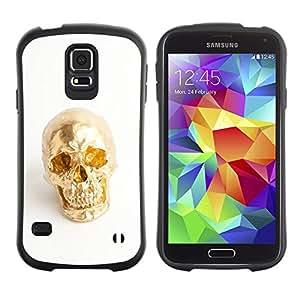 Suave TPU Caso Carcasa de Caucho Funda para Samsung Galaxy S5 SM-G900 / Nugget Scull White Minimalist Bling / STRONG