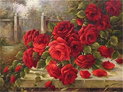 油絵 数字キットによる絵画 塗り絵 庭のバラの花 大人 手塗り DIY絵 デジタル油絵40X50cm (フレームなし)