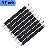 Adjustable Bed Sheet Fasteners Suspenders - 8 Packs of Sheet Suspenders Gripper Holders Elastic Straps Clips for Various Bed Sheets,Mattress Covers, Sofa Cushion(Black)