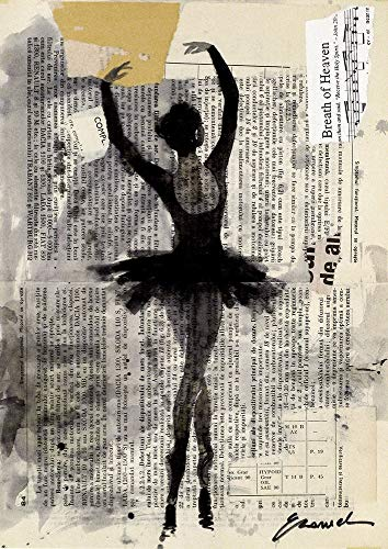 - Ballerina Print art canvas girl dance ink drawing gift sketch old city street painting illustration Autographed signed