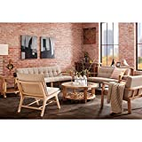 Tribecca Loveseat with Rubberwood Solid Frame and Upholstery Seat in Tan/Barn Grey Color