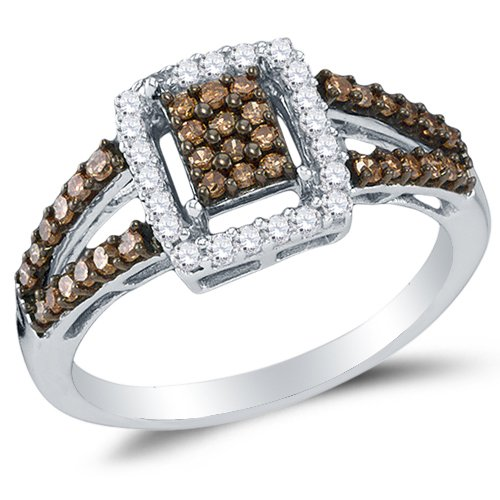 Sonia Jewels Size 7-925 Sterling Silver Chocolate Brown & White Round Diamond Halo Circle Engagement Ring - Channel Set Emerald-Shape Center Setting (1/2 cttw.)
