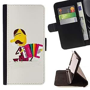 Jordan Colourful Shop - rainbow moustache accordion For Sony Xperia Z3 D6603 - Leather Case Absorci???¡¯???€????€?????????