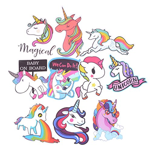 Om_sell 10Pcs Mixed Colorful Cute Unicorn Stickers Laptop Car Phone Luggage Bike Fast by Om_sell