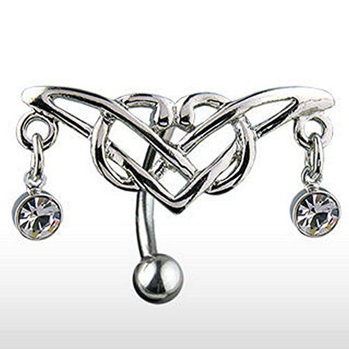 Hinged Reverse Belly Button Ring w/ Gem Tribal - Gem Tribal Belly Button Ring