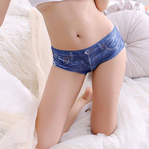 Jean Qi B Pequeños Shorts Damas Ropa Interior Pantalones De Seda De Una Sola Pieza,F,Black Blue