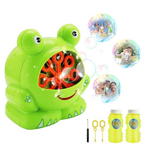 KMOOL Bubble Machine Bubble Toys Automatic Bubble Blower for Kids Portable Bubble Maker for Toddlers 500 Bubbles per Minute Durable Machines Bubble with Bubble Solution (Green, Frog) ()
