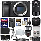 Sony Alpha A6300 4K Wi-Fi Digital Camera Body (Black) with 55-210mm Lens + 64GB Card + Case + Flash + Battery/Charger + Filters + Kit