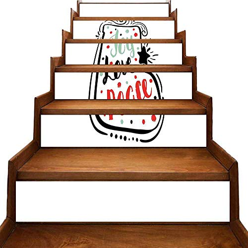 JiuYIBB Joy Self-Adhesive Stairs Risers Stickers Wall Hand Drawn Abstract Christmas Themed Sock Pattern with Swirls and Stars Dots Waterproof Turquoise Red Black W 39