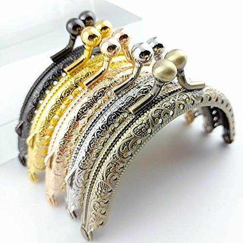 Metal Purse frame Coin Bag Kiss Clasp Lock DIY Craft Assorted 5pcs 8.5cm Retro Half Round Bead Embossed 5 color/set