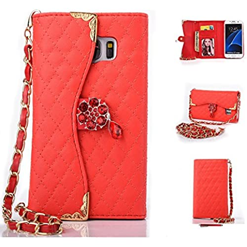 Galaxy S7 Edge Case,HYAIZLZ(TM)Galaxy S7 Edge Wallet Leather Flip Crystal Color Pendants Case for Galaxy S7 Edge With Long Chain,Red Sales