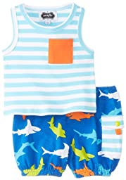 Mud Pie Baby-Boys Newborn Shark Tank and Diaper Cover Set, Multi, 6-9 Months