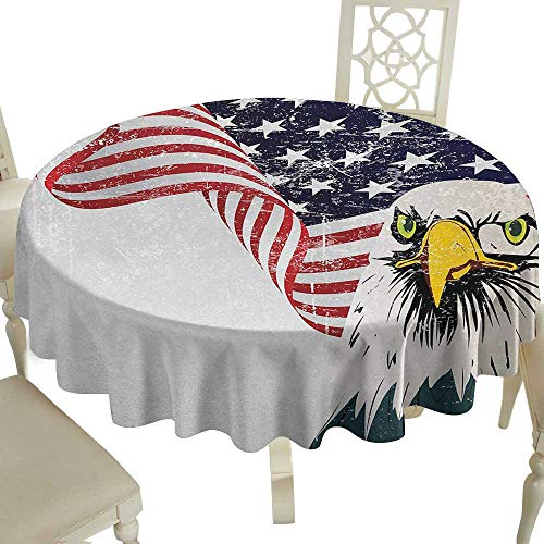 Cranekey Picnic Round Tablecloth 54 Inch American Flag,American Eagle with Grunge Effect 4th of July USA Country Independence Image,Multicolor Great for,Wedding & More ()