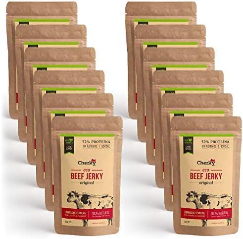 Cherky Eco Beef Jerky Original. Snack Saludable Orgánico de Ternera Premium sin aditivos y sin azúcar. 12uX30g