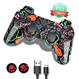 PS3 Controller, PS3 Controller Wireless,Playstation 3 Controller, Wireless PS3 Joystick Double Shock Gamepad Compatible for Playstation 3 with Charger and Thumb Grips (Color: Red lips Graffiti)