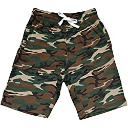 Men's Camo Fleece Jogger Sweatpant Gym Shorts Medium Black