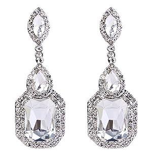BriLove Women's Wedding Bridal Crystal Emerald Cut Infinity Figure 8 Chandelier Dangle Earrings