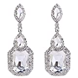 BriLove Women's Wedding Bridal Crystal Emerald Cut Infinity Figure 8 Chandelier Dangle Earrings