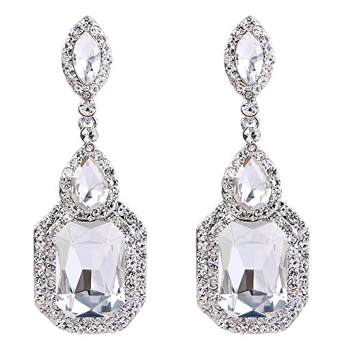 BriLove Wedding Bridal Dangle Earrings for Women Emerald Cut Crystal Infinity Figure 8 Chandelier Earrings Clear Silver-Tone